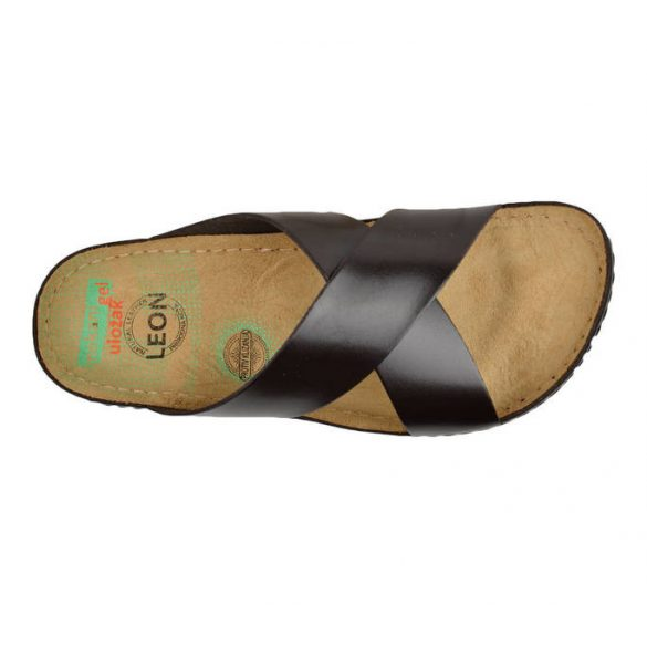 Leon Comfort férfi papucs-705 barna